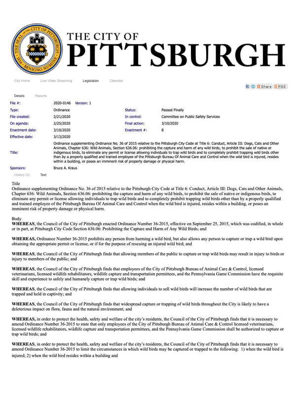 restricting wild bird trapping and selling amendment page 1