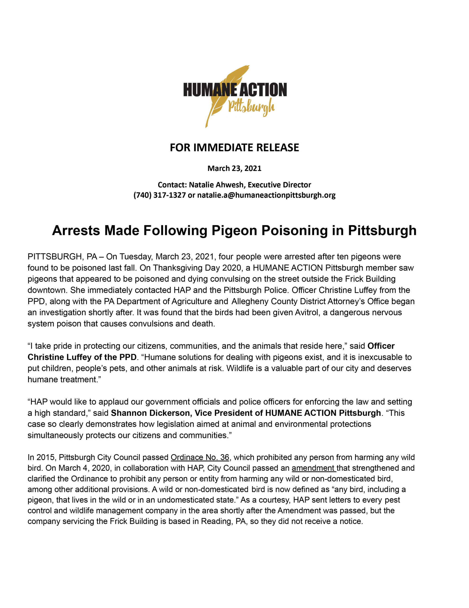 Humane Action Pittsburgh Arrests Made After Pigeon Poisoning in Pittsburgh Press Release